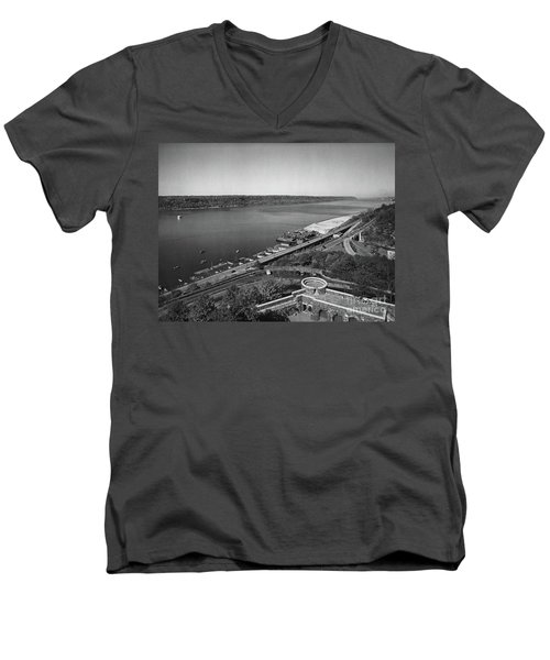 Men's V-Neck T-Shirt featuring the photograph Henry Hudson Parkway, 1936 by Cole Thompson