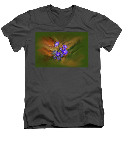 Hepatica Nobilis Painterly #h4 Men's V-Neck T-Shirt