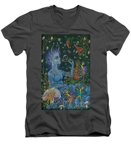 Men's V-Neck T-Shirt featuring the drawing Her Caterpillar Majesty by Dawn Fairies