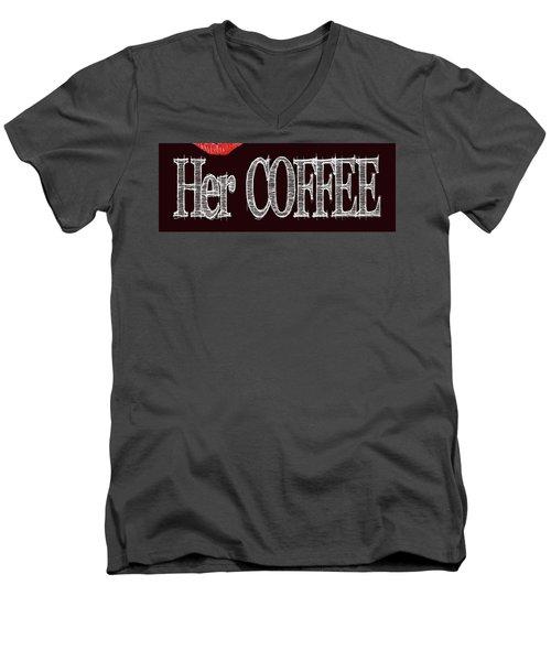 Her Coffee Mug 2 Men's V-Neck T-Shirt by Robert J Sadler