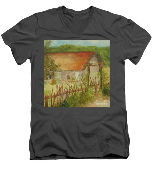 Men's V-Neck T-Shirt featuring the painting Herb Garden by Vicki  Housel