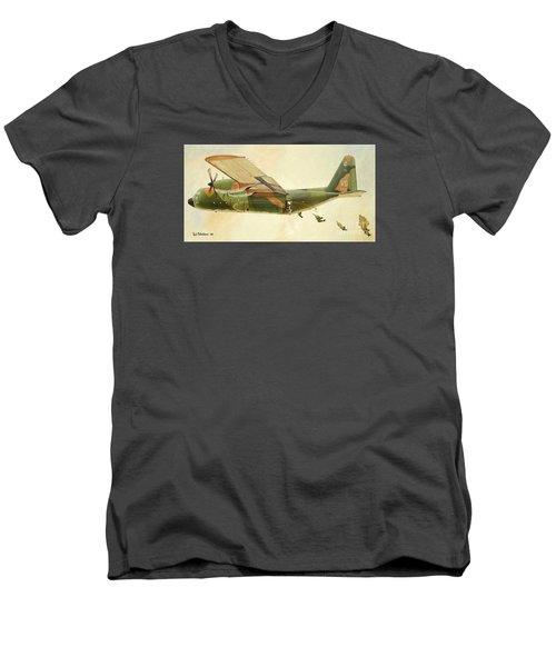 Men's V-Neck T-Shirt featuring the painting Hercules Paratroop Drop by Paul Clinkunbroomer