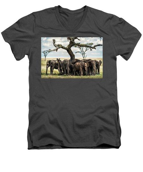 Herd Of Elephants Under A Tree In Serengeti Men's V-Neck T-Shirt
