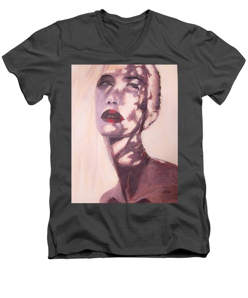 Men's V-Neck T-Shirt featuring the painting Here Comes The Sun  by Jarko Aka Lui Grande