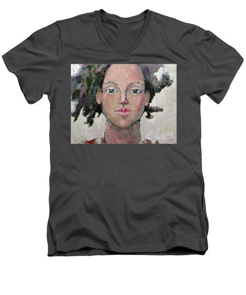 Here I Am Men's V-Neck T-Shirt by Becky Kim