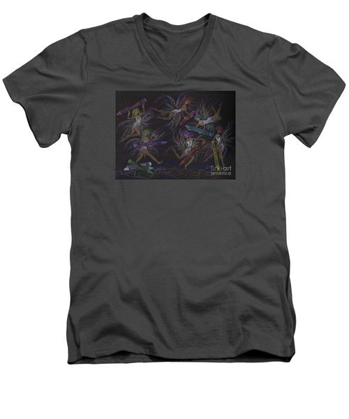 Men's V-Neck T-Shirt featuring the drawing Here We Go A Coloring... by Dawn Fairies