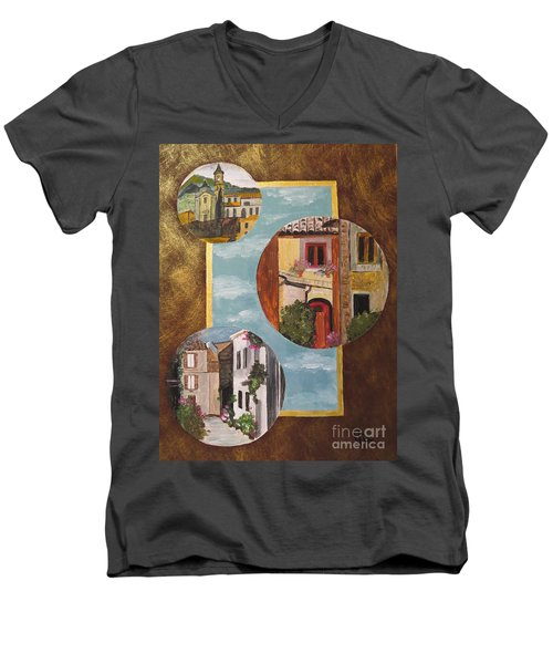 Men's V-Neck T-Shirt featuring the painting Heritage by Judy Via-Wolff