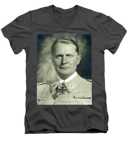 Herman Goering Autographed Photo 1945 Color Added 2016 Men's V-Neck T-Shirt