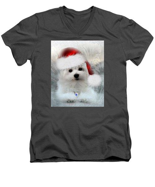Hermes The Maltese At Christmas Men's V-Neck T-Shirt by Morag Bates
