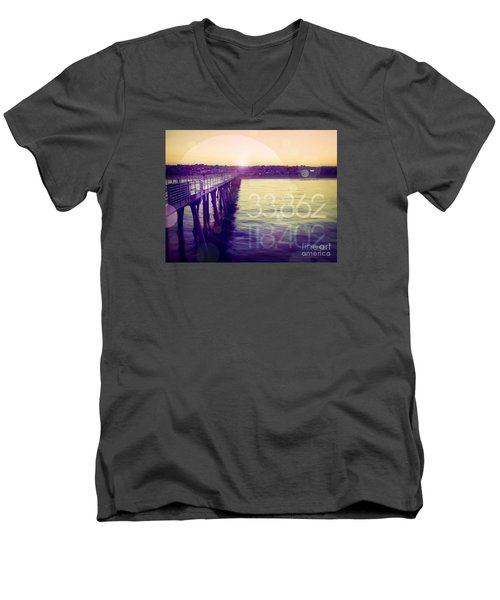 Men's V-Neck T-Shirt featuring the photograph Hermosa Beach California by Phil Perkins