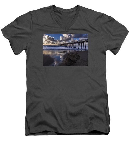 Hermosa Beach Pier Men's V-Neck T-Shirt by Ed Clark