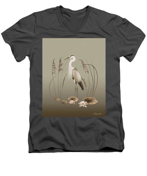 Heron And Lotus Flowers Men's V-Neck T-Shirt