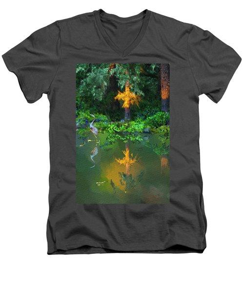 Men's V-Neck T-Shirt featuring the digital art Heron Art by Dale Stillman