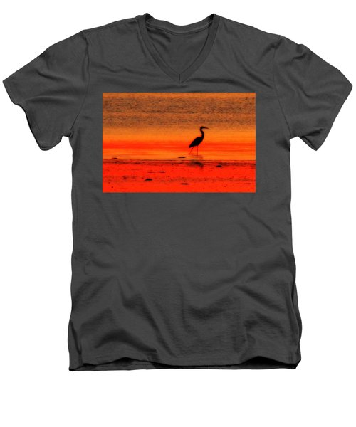 Heron At Dawn Men's V-Neck T-Shirt