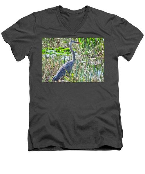 Heron By The Riverside Men's V-Neck T-Shirt