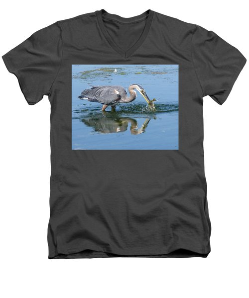 Great Blue Heron Catches A Fish Men's V-Neck T-Shirt by Keith Boone