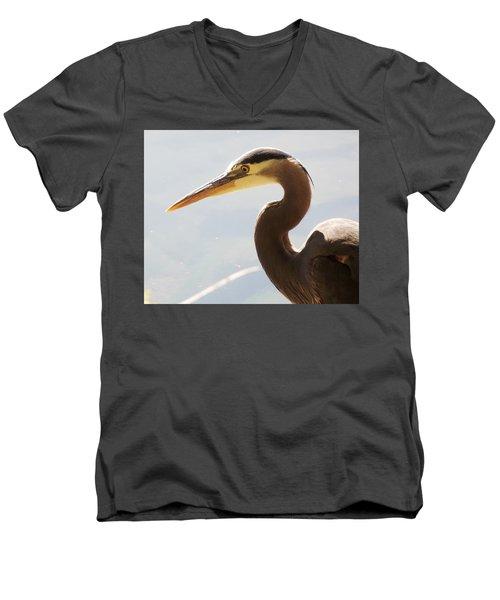 Men's V-Neck T-Shirt featuring the photograph Heron Headshot by Karen Molenaar Terrell