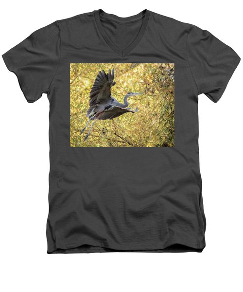 Heron In Flight Men's V-Neck T-Shirt by Keith Boone