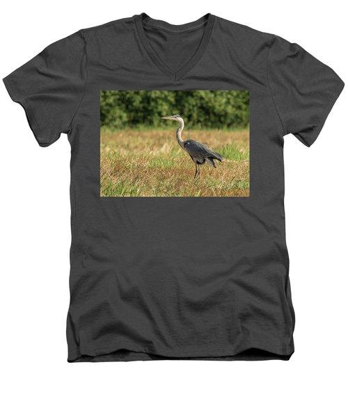 Heron In The Field Men's V-Neck T-Shirt