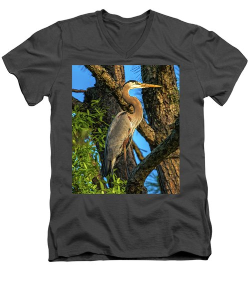 Heron In The Pine Tree Men's V-Neck T-Shirt