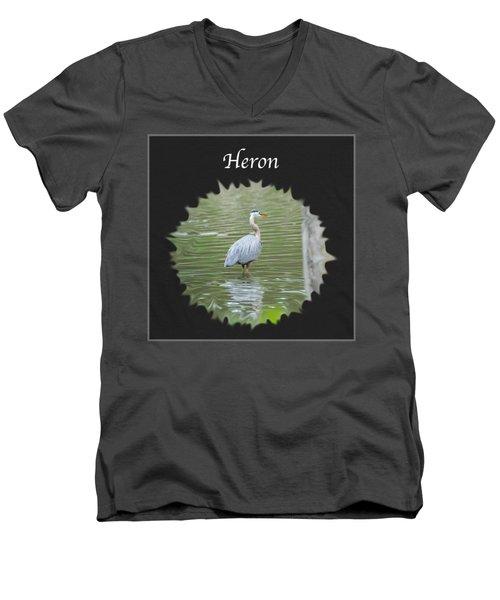 Heron Men's V-Neck T-Shirt by Jan M Holden