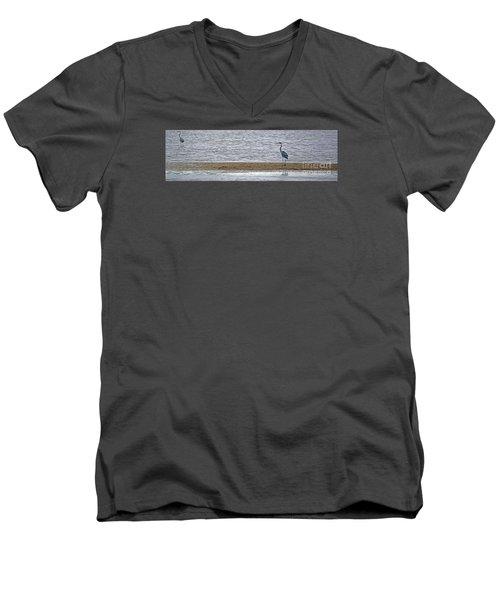 Heron On Quivira Sandbar Men's V-Neck T-Shirt