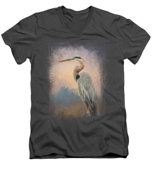 Heron On The Rocks Men's V-Neck T-Shirt by Jai Johnson