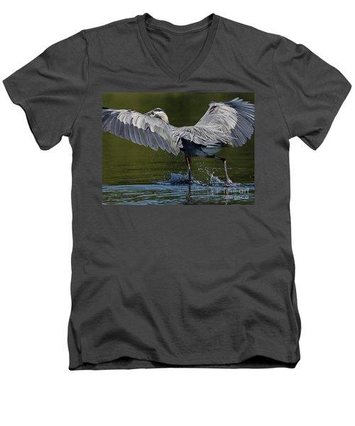 Heron On The Run Men's V-Neck T-Shirt