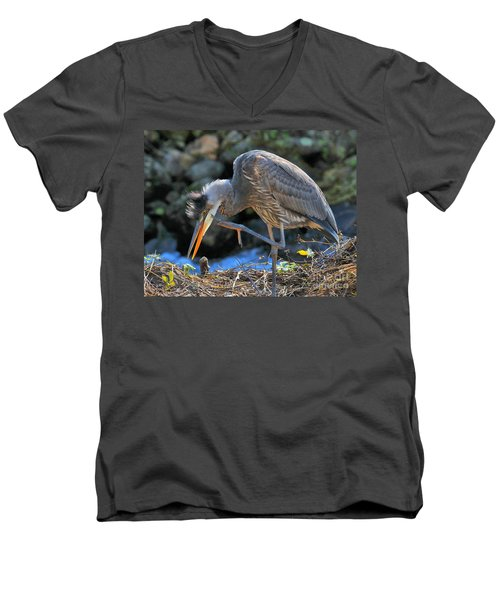 Men's V-Neck T-Shirt featuring the photograph Heron Scratch by Debbie Stahre