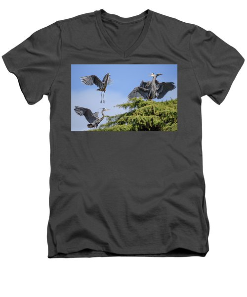 Herons Mating Dance Men's V-Neck T-Shirt by Keith Boone