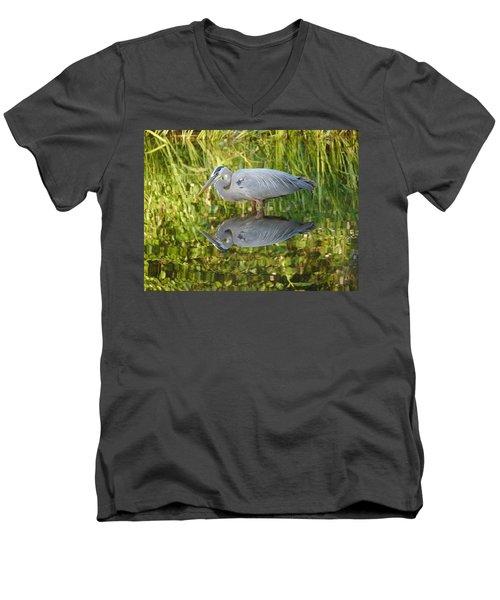 Heron's Reflection Men's V-Neck T-Shirt by Jane Ford
