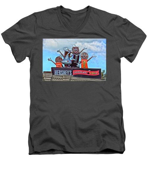 Hershey's Chocolate World Sign Men's V-Neck T-Shirt