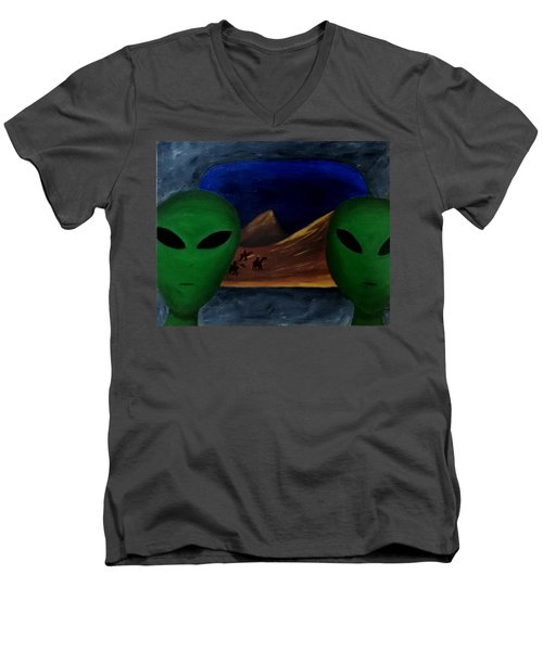 Men's V-Neck T-Shirt featuring the painting Hey Bob, I Think They Are Following Us.. by Lola Connelly