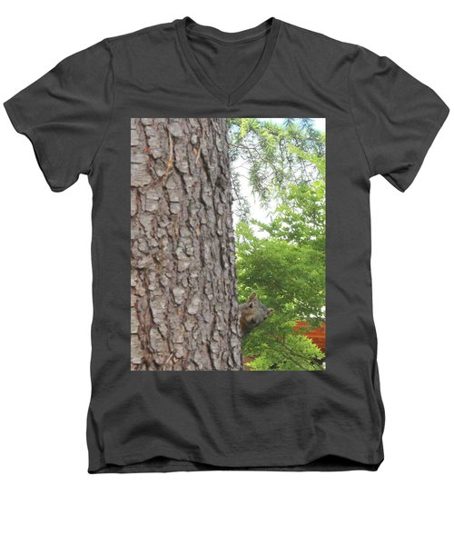 Men's V-Neck T-Shirt featuring the photograph Hey Down Here by Marie Neder