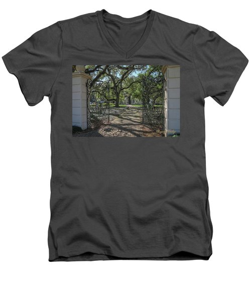 Men's V-Neck T-Shirt featuring the photograph Heyman House Gates 1 by Gregory Daley  PPSA