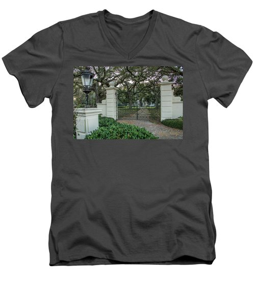 Men's V-Neck T-Shirt featuring the photograph Heyman House Gates by Gregory Daley  PPSA