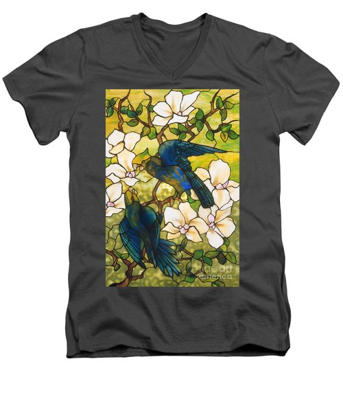 Hibiscus And Parrots Men's V-Neck T-Shirt