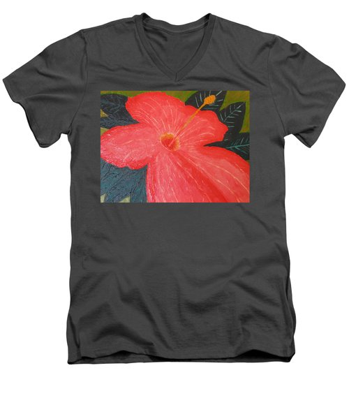Hibiscus Men's V-Neck T-Shirt by Barbara Yearty