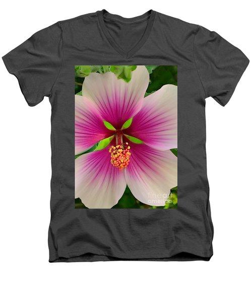 Hibiscus Face Men's V-Neck T-Shirt