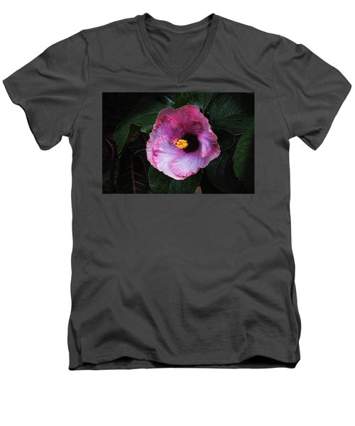 Men's V-Neck T-Shirt featuring the photograph Hibiscus Flower by Tom Mc Nemar