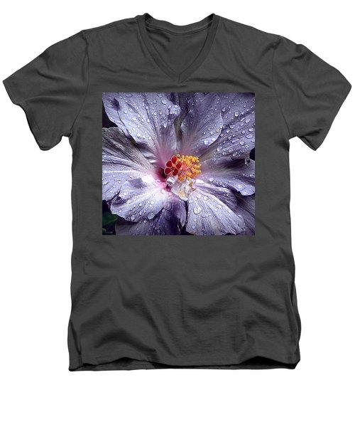 Hibiscus In The Rain Men's V-Neck T-Shirt by Lori Seaman