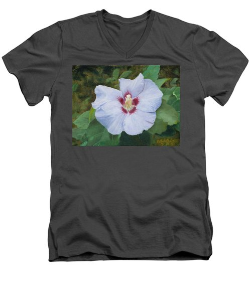 Men's V-Neck T-Shirt featuring the painting Hibiscus by Joshua Martin