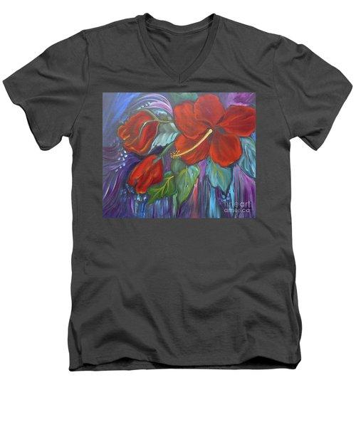 Hibiscus Whimsy Men's V-Neck T-Shirt