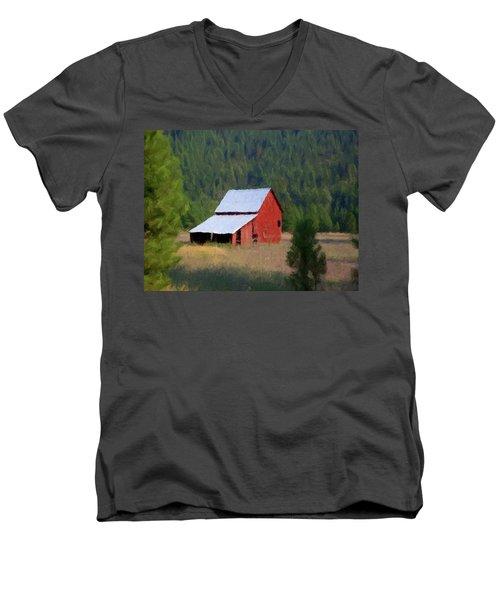 Men's V-Neck T-Shirt featuring the painting Hidden Away P D P by David Dehner