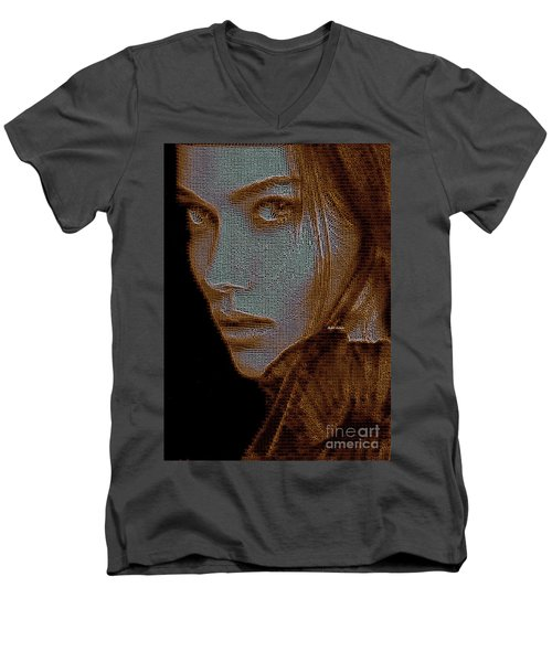 Men's V-Neck T-Shirt featuring the digital art Hidden Face In Sepia by Rafael Salazar