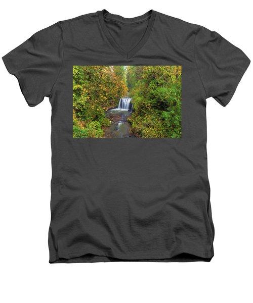 Hidden Falls In Autumn Men's V-Neck T-Shirt