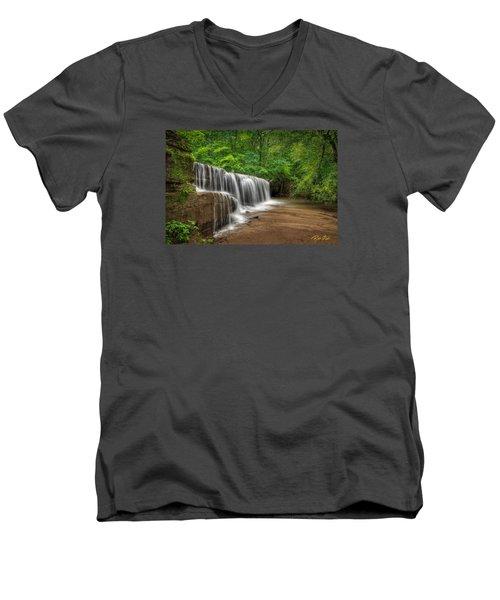Men's V-Neck T-Shirt featuring the photograph Hidden Falls  by Rikk Flohr
