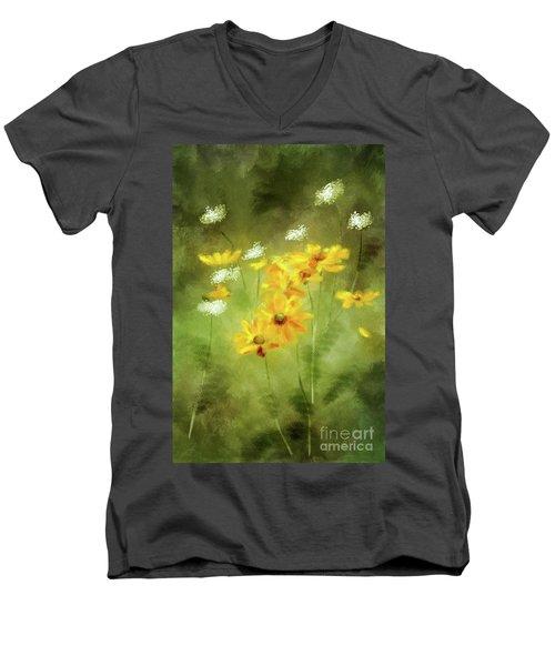 Men's V-Neck T-Shirt featuring the digital art Hidden Gems by Lois Bryan