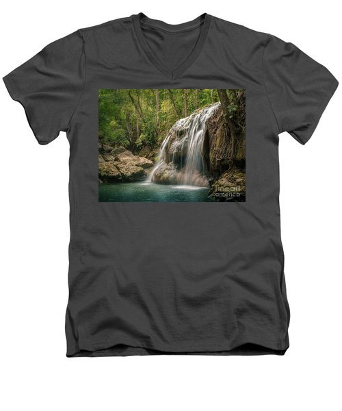 Men's V-Neck T-Shirt featuring the photograph Hidden In The Jungle Of Guatemala by Jola Martysz