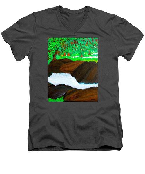 Hidden Paradise Men's V-Neck T-Shirt by Lorna Maza